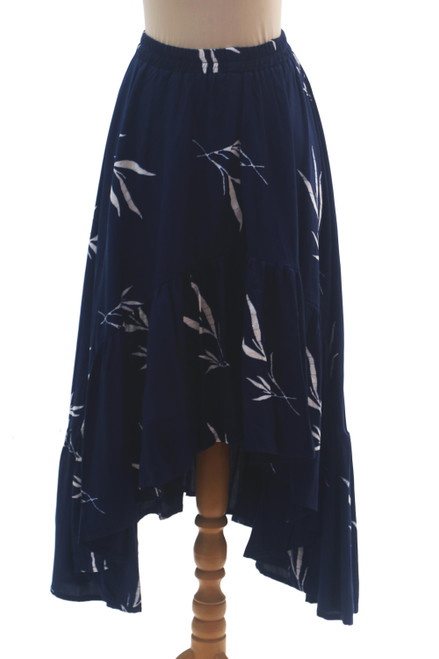 Batik Rayon Skirt in Midnight and White from Bali 'Midnight Fall'