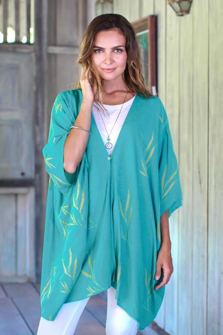 Batik Rayon Kimono Jacket in Turquoise and Lemon from Bali 'Balinese Breeze in Turquoise'