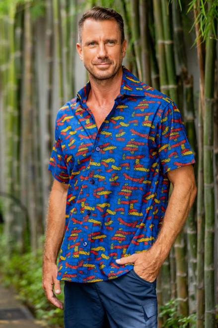 Yarn Motif Men's Printed Cotton Shirt from Ghana 'Colorful Yarn'