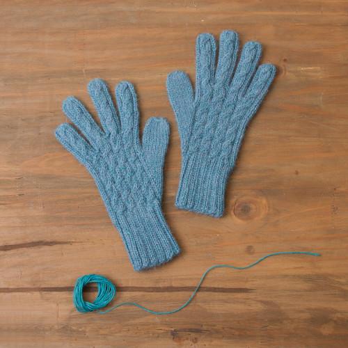 100 Alpaca Knit Gloves in Light Azure from Peru 'Winter Delight in Light Azure'