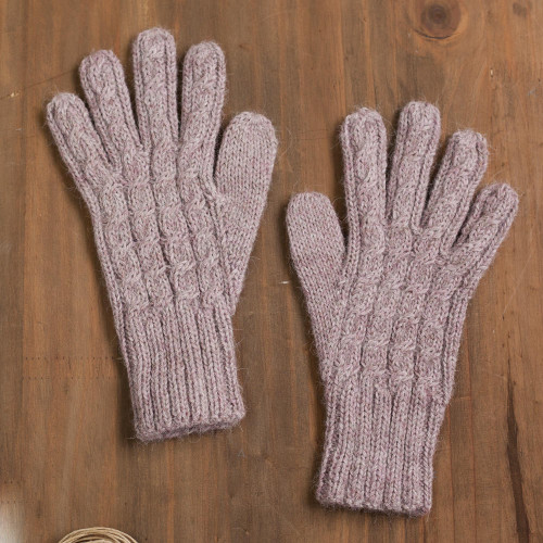 Cable Knit 100 Alpaca Gloves in Light Mauve from Peru 'Winter Delight in Light Mauve'