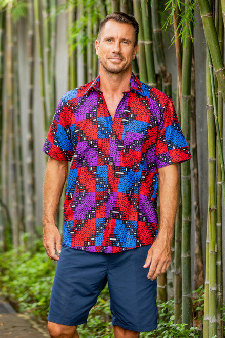 Geometric Motif Men's Cotton Shirt from Ghana 'Mesmerizingly Handsome'