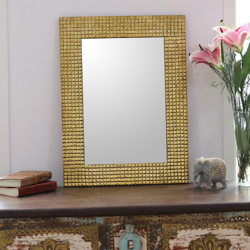 Square Pattern Glass Wall Mirror from India 'Golden Squares'