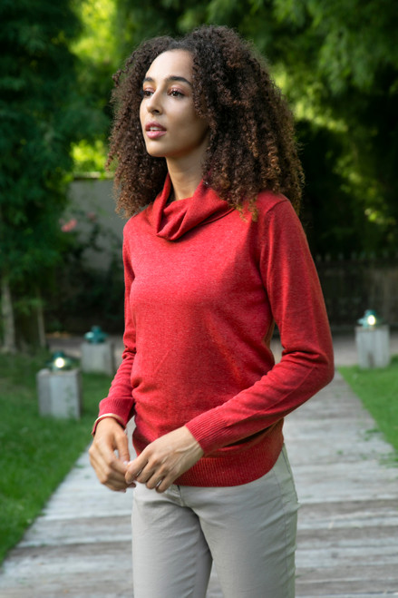 Knit Cotton Blend Pullover in Solid Cerise Red from Peru 'Cerise Versatility'