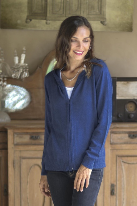 Cotton Blend Hoodie in Royal Blue from Peru 'Simple Delight in Royal Blue'