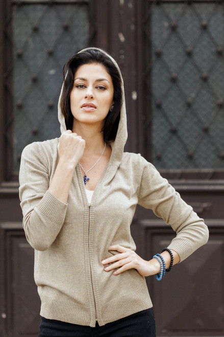 Cotton Blend Hooded Cardigan in Taupe from Peru 'Simple Delight in Taupe'