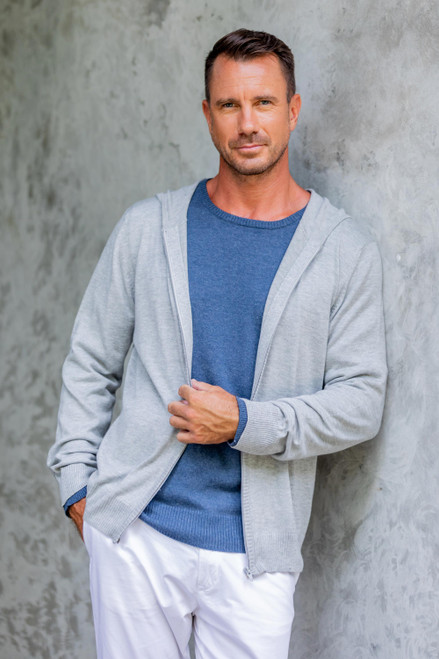 Light Grey Cotton Blend Men's Hoodie Sweater 'Neutral Grey Adventure'