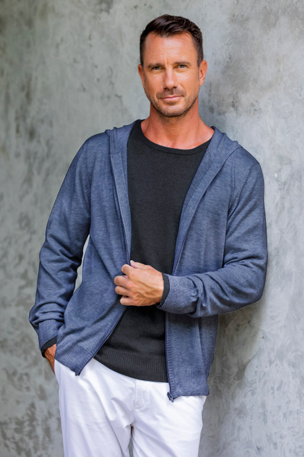 Indigo Blue Cotton Blend Men's Hoodie Sweater 'Indigo Adventure'