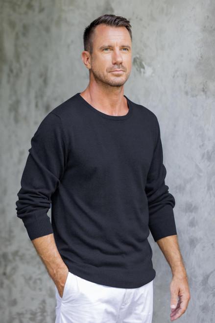 Men's Crew Neck Cotton Blend Pullover in Black from Peru 'Classic Warmth in Black'