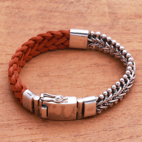 Brown Braided Leather and Sterling Silver Bracelet 'Majestic Duo in Brown'