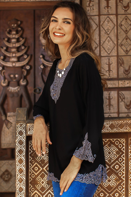 Ebony and Smoke Embroidered Rayon Tunic from Bali 'Kayangan in Black'