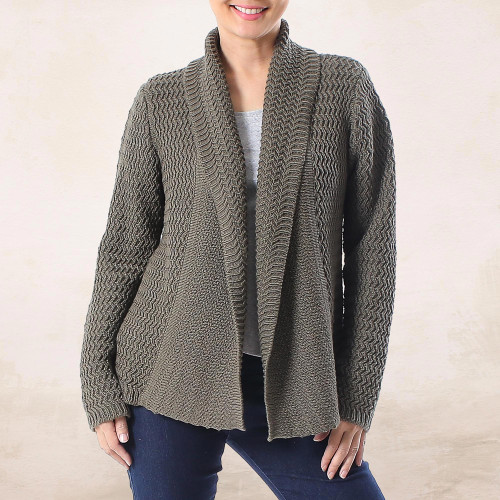Knit Cotton Cardigan in Dark Taupe from Thailand 'Cross Stitch in Dark Taupe'