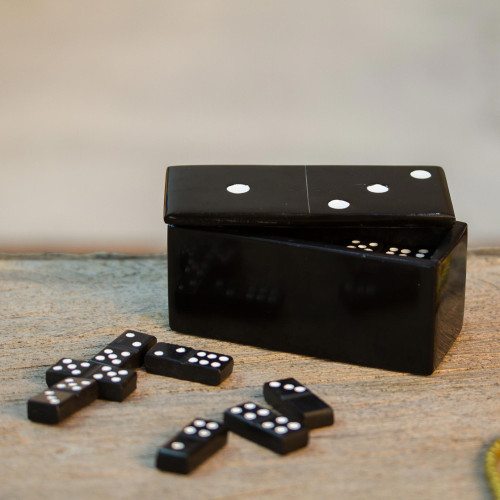 Black Marble Domino Set from Mexico 'Strategic Chance'