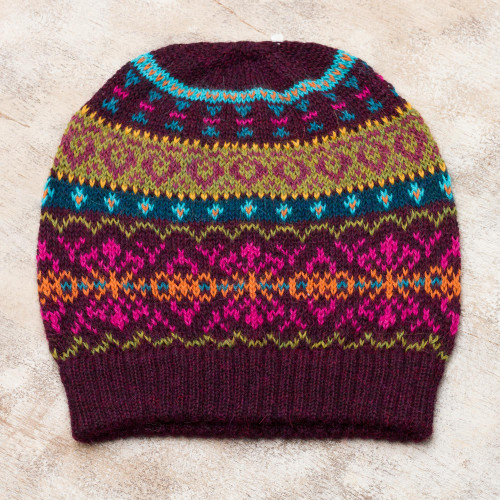 Multi-Color 100 Alpaca Knit Hat with Rows of Varying Motifs 'Colorful Carousel'