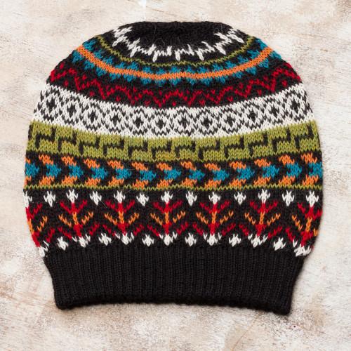 Multi-Color 100 Alpaca Knit Hat with Geometric Motifs 'Motif Medley'