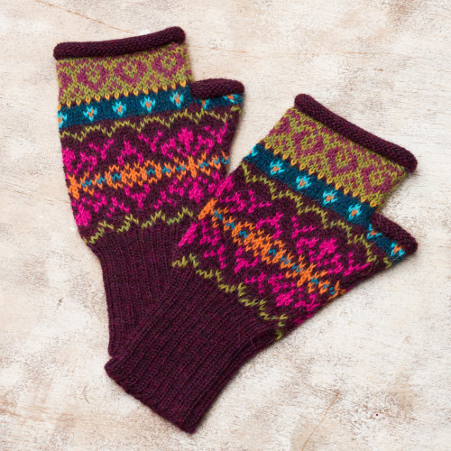 Multi-Color Multi-Motif 100 Alpaca Knit Fingerless Mitts 'Colorful Carousel'