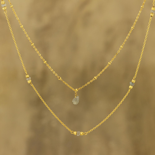 Gold Plated Labradorite Station Necklace from India 'Misty Grace'