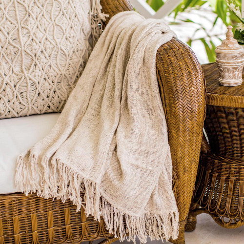 Alabaster Ivory Handwoven Lightweight Cotton Throw from Bali 'Alabaster Madura'
