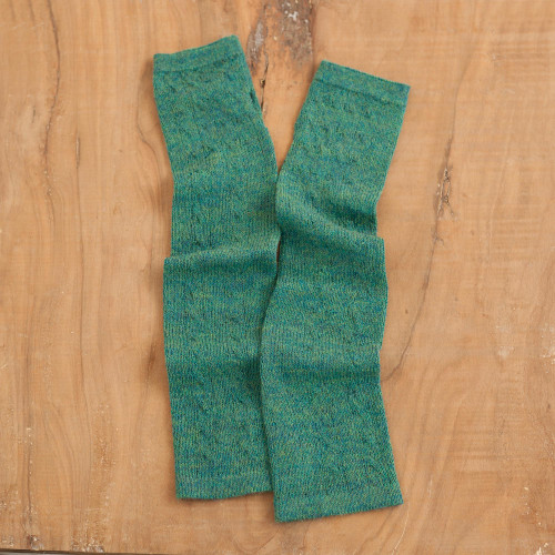 Green 100 Baby Alpaca Cable Knit Fingerless Mitts 'Luscious Twist in Emerald'