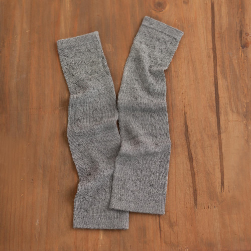 Grey 100 Baby Alpaca Cable Knit Fingerless Mitts from Peru 'Luscious Twist in Grey'