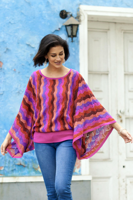 Fuchsia and Purple Wavy Vertical Stripe Alpaca Blend Sweater 'Samba Sizzle'