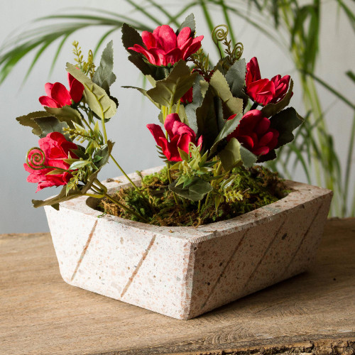 Rectangular Reclaimed Stone Flower Pot from Mexico 'Striped Rectangle'