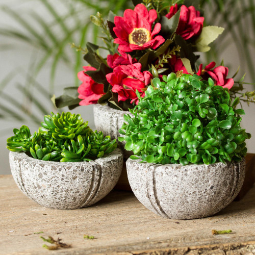 Round Reclaimed Stone Flower Pots from Mexico Set of 3 'Striped Bowls'