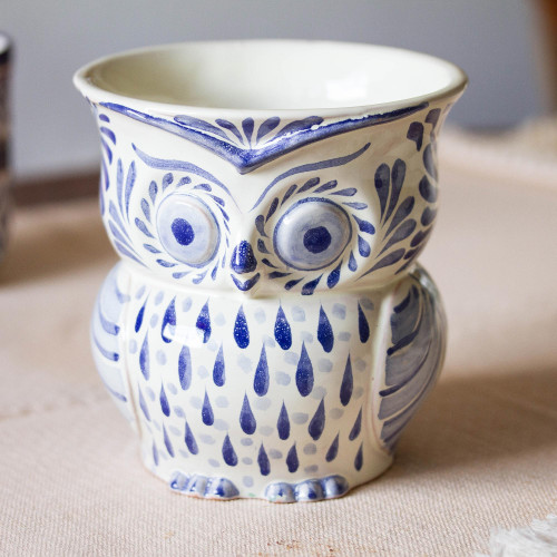 Blue and White Ceramic Owl Flower Pot from Mexico 'Blue Wind'
