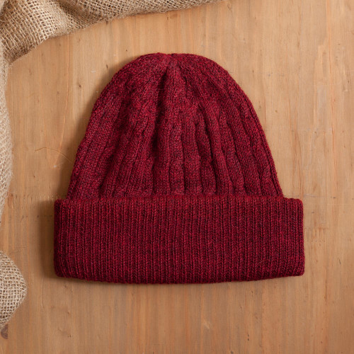 Cranberry Red 100 Alpaca Soft Cable Knit Hat from Peru 'Comfy in Burgundy'