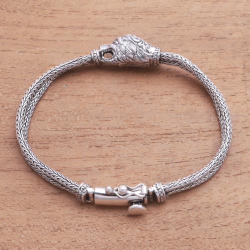 Sterling Silver Lion Pendant Bracelet from Bali 'Stylish Lion'