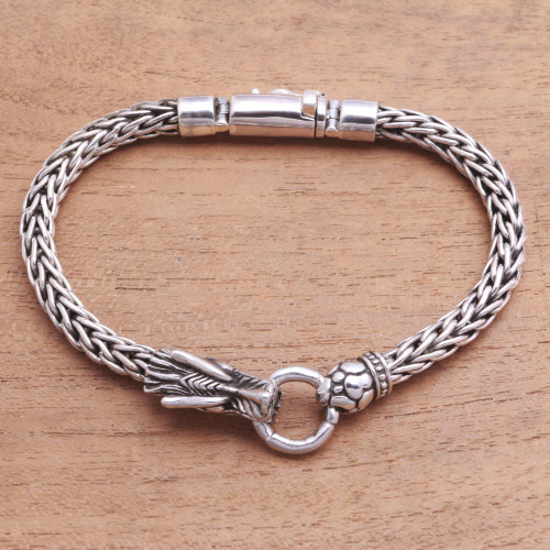 Dragon-Themed Sterling Silver Pendant Bracelet from Bali 'Clutching Ring'