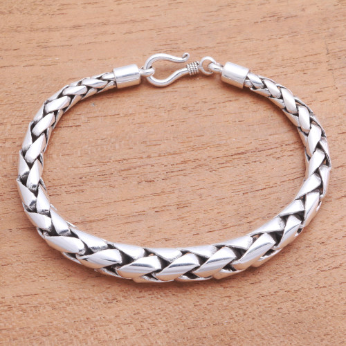High-Polish Sterling Silver Wheat Chain Bracelet from Bali 'Expanding Gleam'