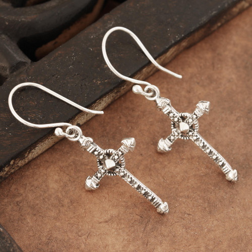 Sterling Silver Cross Dangle Earrings from India 'Faithful Dazzle'