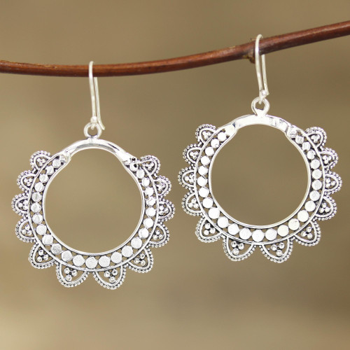 Petal Pattern Sterling Silver Dangle Earrings from India 'Glamorous Petals'