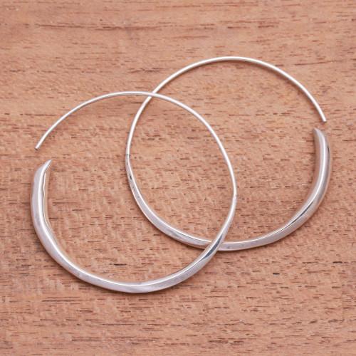 Handcrafted Sterling Silver Half-Hoop Earrings from Bali 'Expanding Beauty'