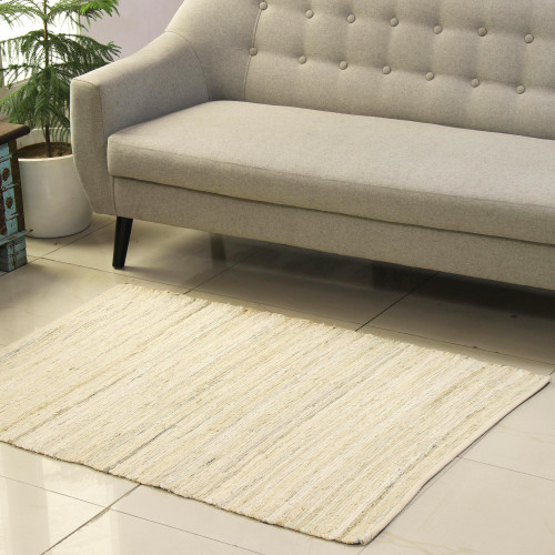Beige and Azure Recycled Cotton Area Rug from India 3x4.5 'Subdued Style'