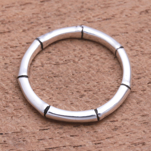 Handcrafted Bamboo Motif Sterling Silver Band Ring 'Bamboo Regeneration''