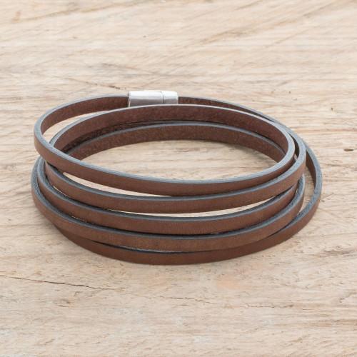Men's Espresso Leather Wrap Bracelet from Costa Rica 'Masculine Symphony in Espresso'
