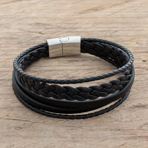 Men's Black Leather Strand Bracelet from Costa Rica 'Bold Variety in Black'