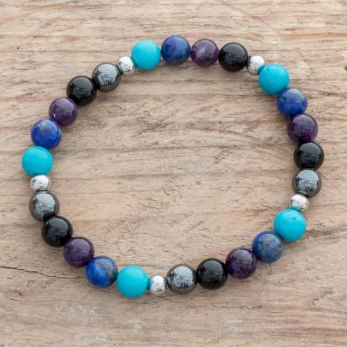 Men's Multi-Gemstone Stretch Bracelet in Blue and Purple 'Morpheus Colors'