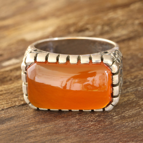 Men's Orange Onyx Ring Crafted in India 'Sunset Vines'