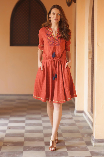 Floral Embroidered Cotton A-Line Dress in Paprika from India 'Delhi Spring in Russet'