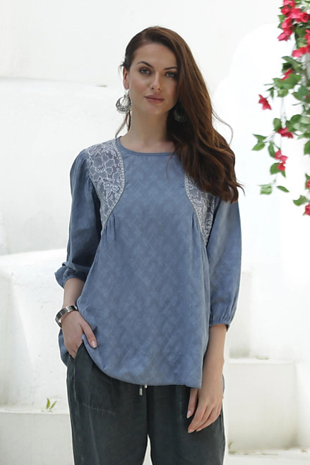 Embroidered Cotton Top in Cadet Blue from India 'Delhi Evening'