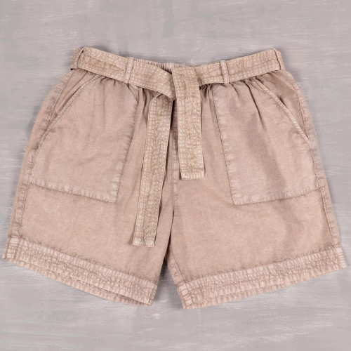 Drawstring Cotton Shorts in Beige from India 'Summer Relaxation in Khaki'