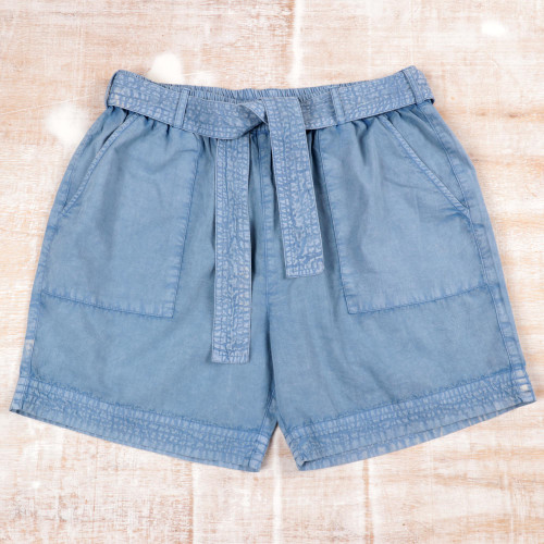 Drawstring Cotton Shorts in Sky Blue from India 'Summer Relaxation in Sky Blue'