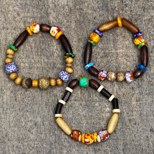 Wood and Recycled Glass Beaded Stretch Bracelets Set of 3 'Eco Friends'