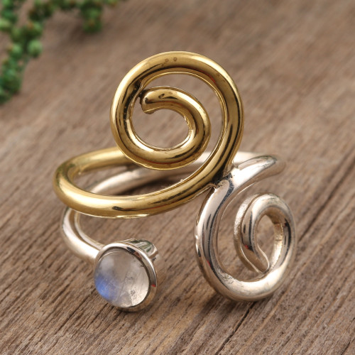Rainbow Moonstone Ring with Sterling Silver and Brass 'Curling Union'