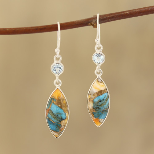 Blue Topaz and Composite Turquoise Dangle Earrings 'Elegance of the Beach'