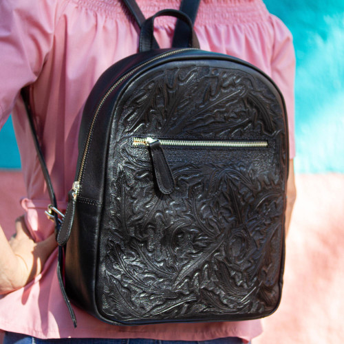 Floral Pattern Leather Backpack in Black from Mexico 'Onyx Floral Artisan'