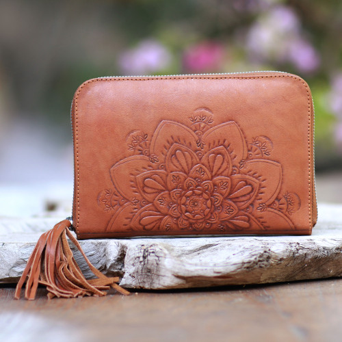 Lotus Pattern Leather Clutch Crafted in Bali 'Padma Bloom'